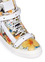 'London' comic strip print leather high top sneakers