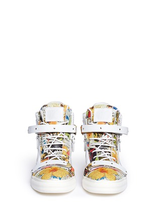 Figure View - Click To Enlarge - Giuseppe Zanotti Design - 'London' comic strip print leather high top sneakers
