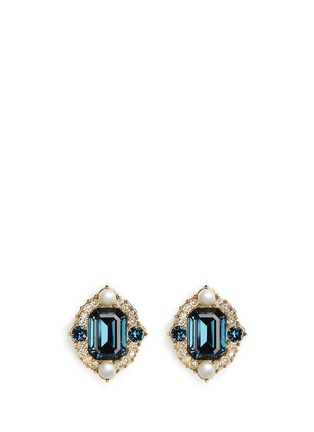 Main View - Click To Enlarge - ST. JOHN - 'Ornate' Swarovski crystal pearl pavé earrings