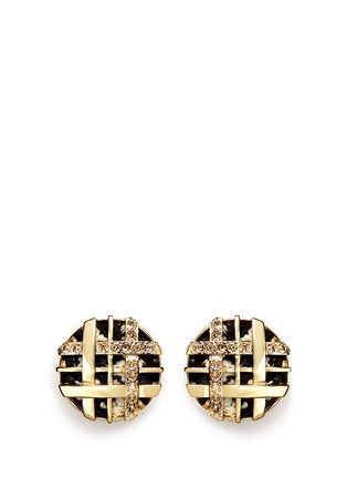 Main View - Click To Enlarge - ST. JOHN - Swarovski crystal lattice weave earrings