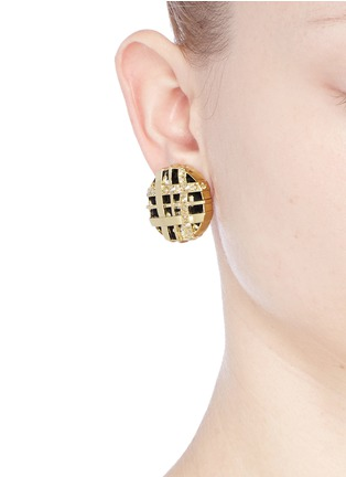 Figure View - Click To Enlarge - ST. JOHN - Swarovski crystal lattice weave earrings