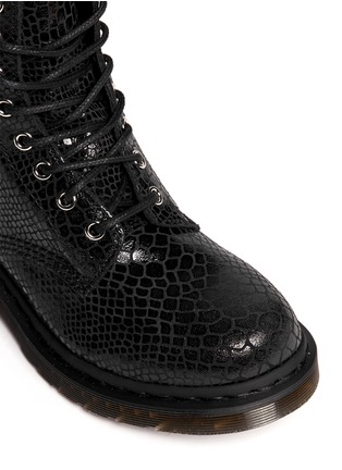 Detail View - Click To Enlarge - Dr. Martens - 'Hi Shine Snake' python print leather boots