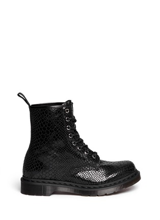 Main View - Click To Enlarge - Dr. Martens - 'Hi Shine Snake' python print leather boots