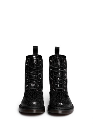 Figure View - Click To Enlarge - Dr. Martens - 'Hi Shine Snake' python print leather boots
