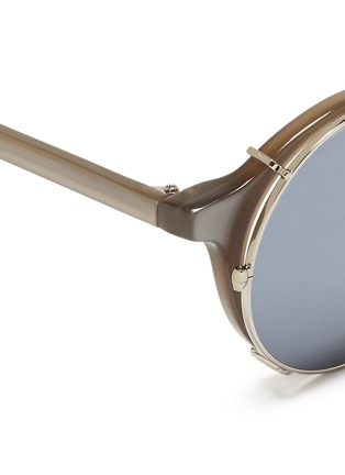 Detail View - Click To Enlarge - SUNDAY SOMEWHERE - 'Matahari' clip-on wire rim round mirror sunglasses