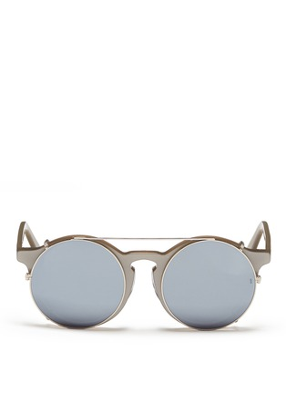 Main View - Click To Enlarge - SUNDAY SOMEWHERE - 'Matahari' clip-on wire rim round mirror sunglasses
