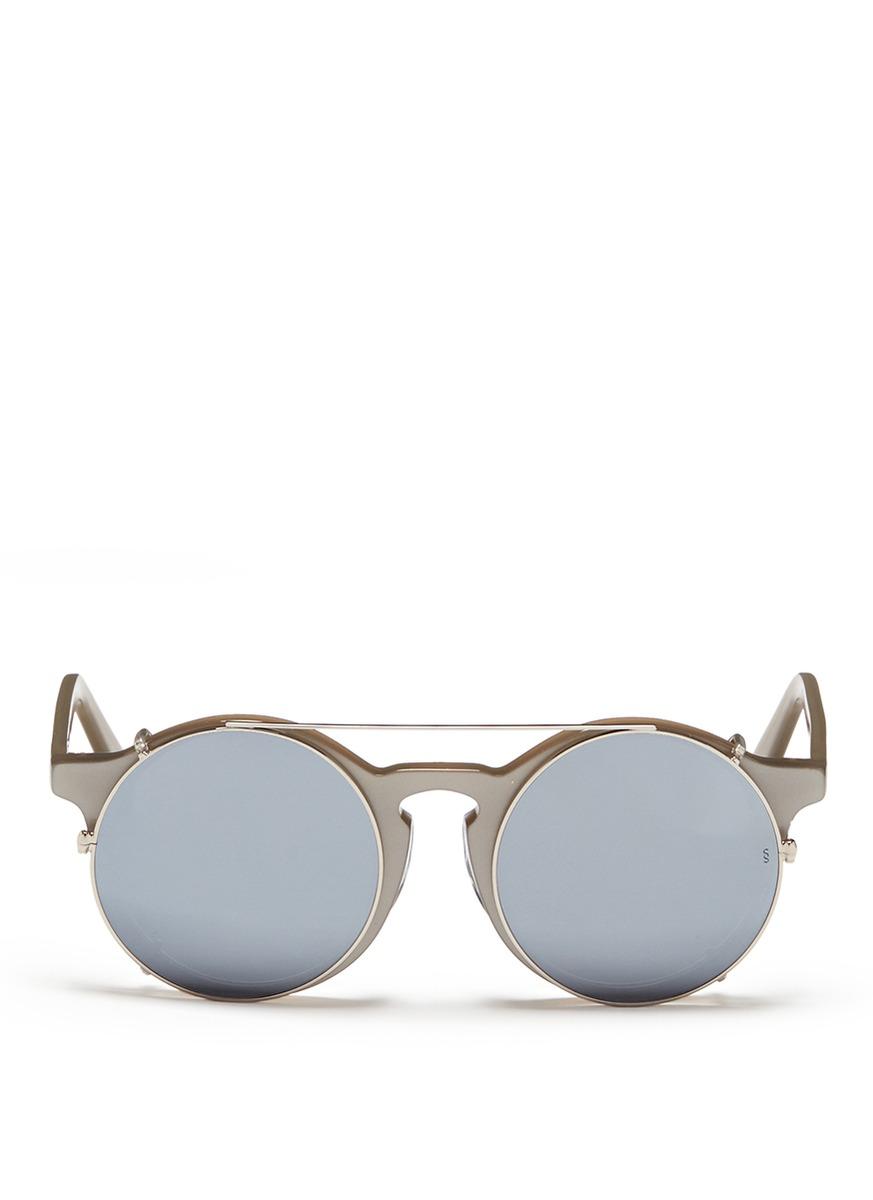 sunday somewhere male matahari clipon wire rim round mirror sunglasses
