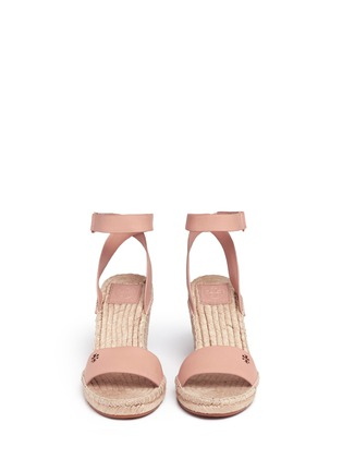 Front View - Click To Enlarge - Tory Burch - 'Bima' leather espadrille wedge sandals