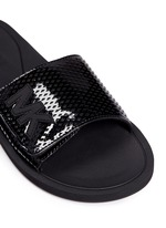 'MK' logo perforated band rubber slide sandals