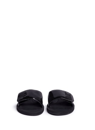 Front View - Click To Enlarge - Michael Kors - 'MK' logo perforated band rubber slide sandals