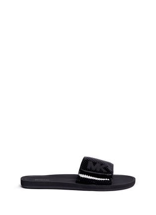 Main View - Click To Enlarge - Michael Kors - 'MK' logo perforated band rubber slide sandals