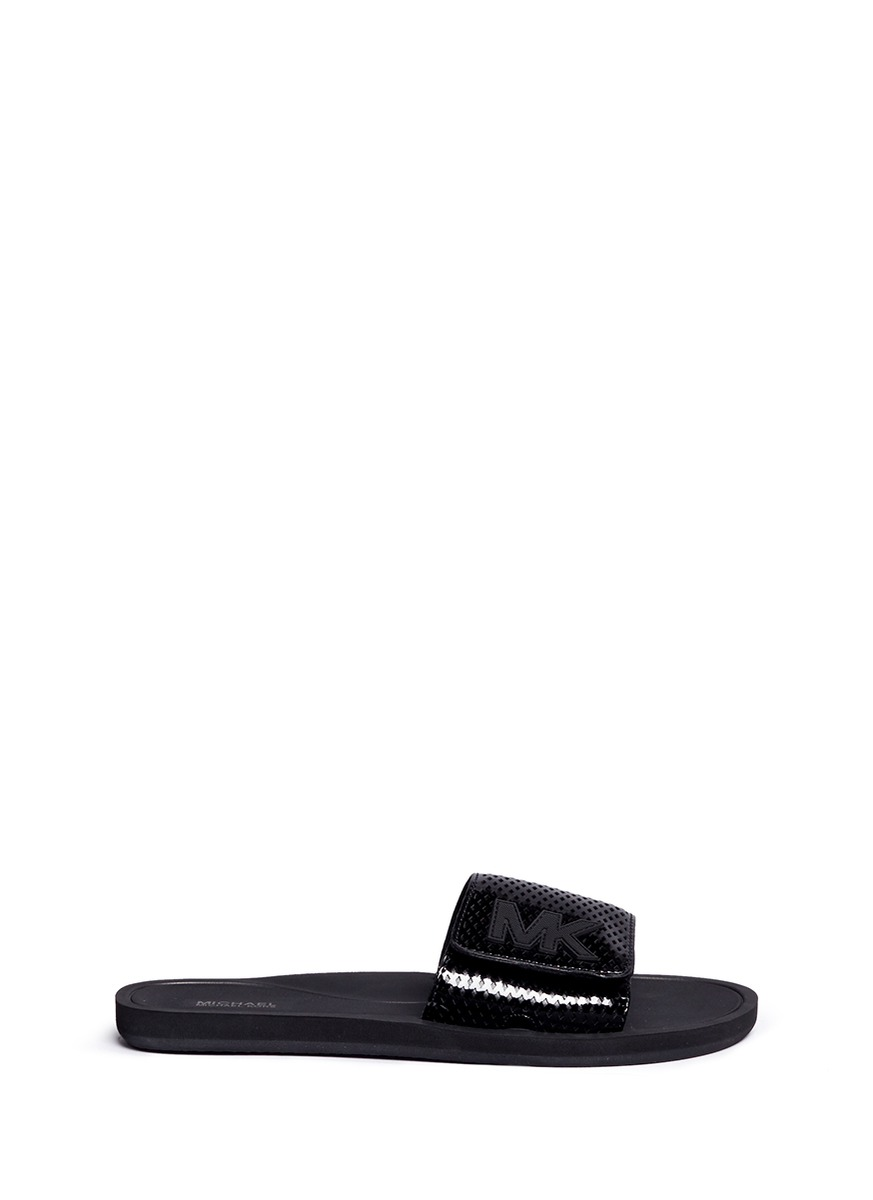 michael kors female mk logo perforated band rubber slide sandals
