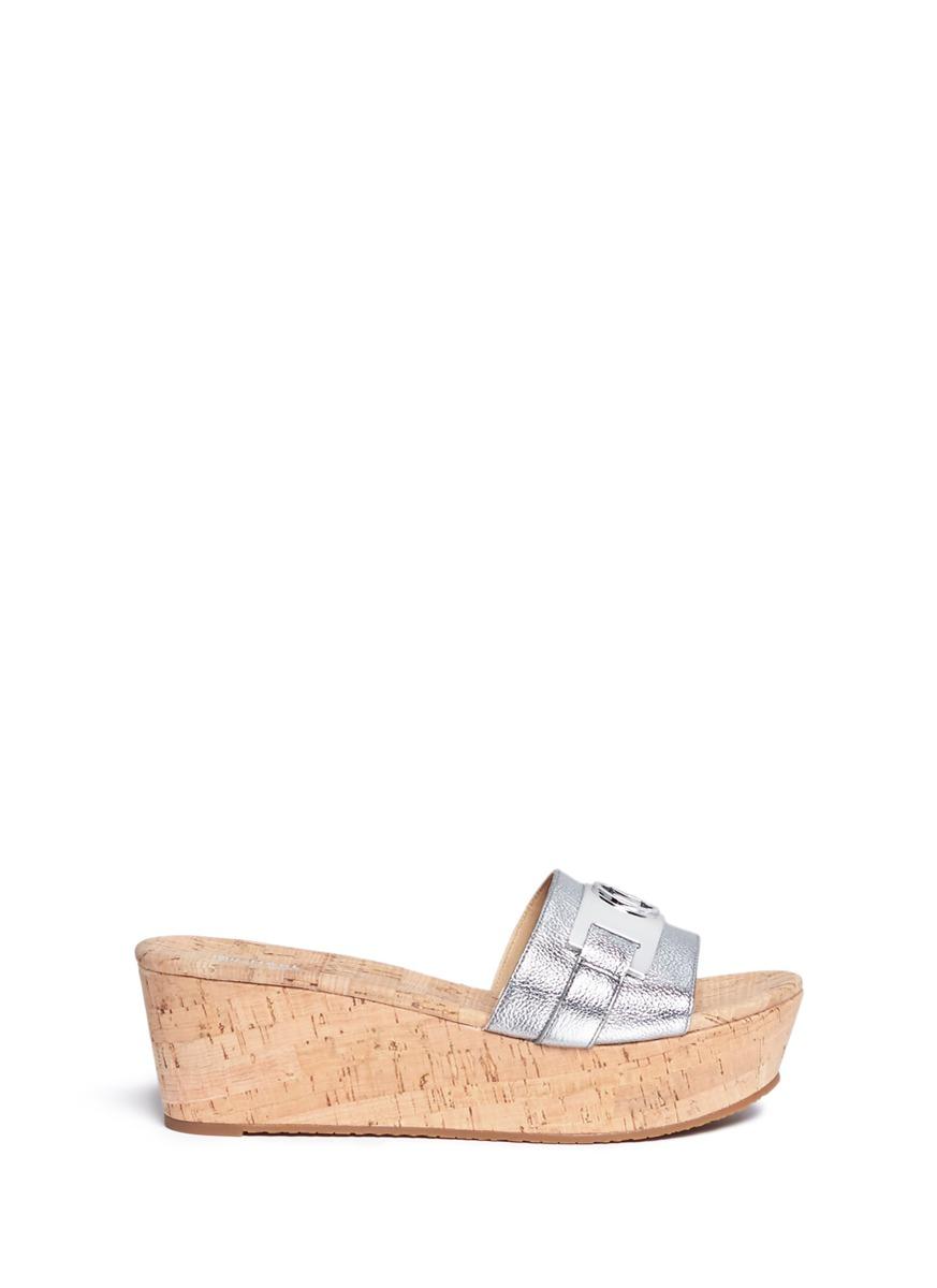 michael kors female warren logo plaque cork wedge slide sandals