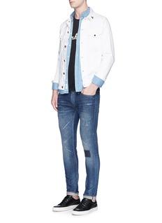 Denham'Razor' patchwork distressed slim fit jeans