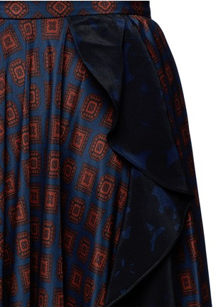 Detail View - Click To Enlarge - Lanvin - Ruffle trim foulard print silk skirt