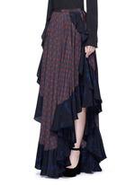Ruffle trim foulard print silk skirt