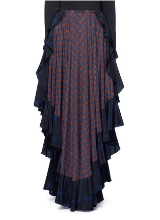 Main View - Click To Enlarge - Lanvin - Ruffle trim foulard print silk skirt