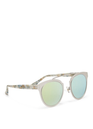 Stephane + Christian - 'Adora' pearlescent temple metal front mirror sunglasses
