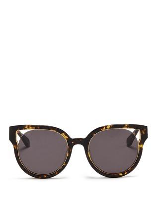 Main View - Click To Enlarge - Stephane + Christian - 'Dali' inset metal rim tortoiseshell acetate sunglasses