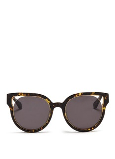 Stephane + Christian 'Dali' inset metal rim tortoiseshell acetate sunglasses