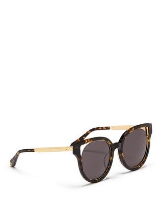 Figure View - Click To Enlarge - Stephane + Christian - 'Dali' inset metal rim tortoiseshell acetate sunglasses