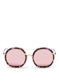 Stephane + Christian 'Drugduck' tortoiseshell acetate insert metal mirror sunglasses
