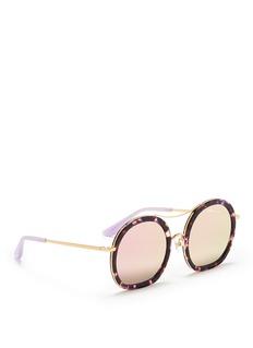 Stephane + Christian'Drugduck' tortoiseshell acetate insert metal mirror sunglasses