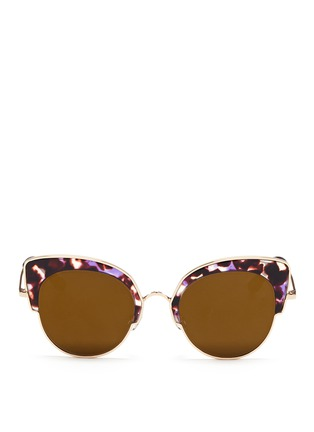 Stephane + Christian - 'Rococo' tortoiseshell acetate wire cat eye mirror sunglasses