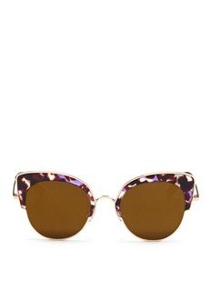 Stephane + Christian 'Rococo' tortoiseshell acetate wire cat eye mirror sunglasses