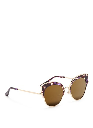 Figure View - Click To Enlarge - Stephane + Christian - 'Rococo' tortoiseshell acetate wire cat eye mirror sunglasses
