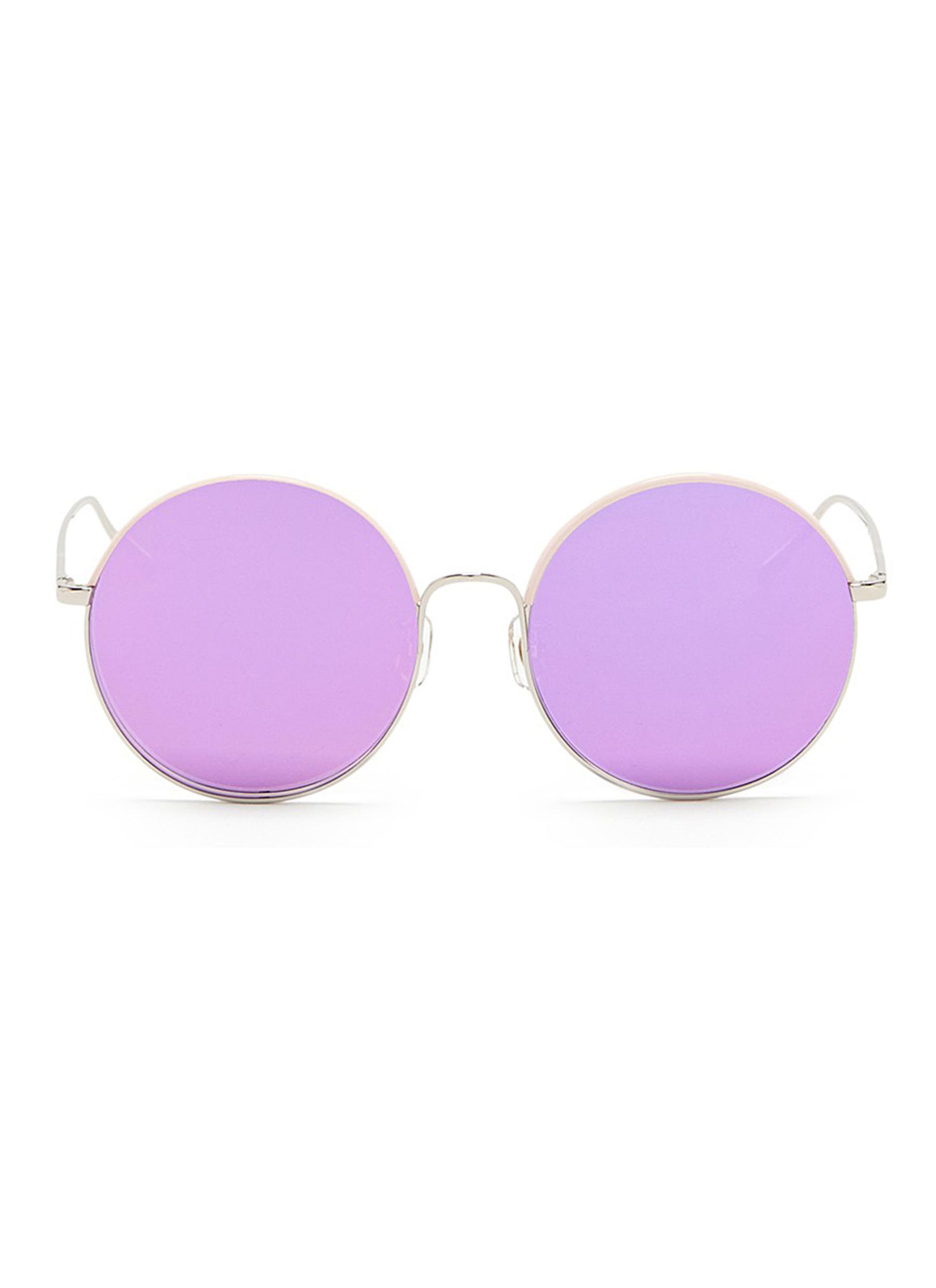 stephane christian female cantabile coated rim round metal mirror sunglasses