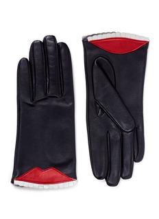 Aristide'Ambush' lip and teeth lambskin leather short gloves