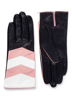AristideColourblock chevron stripe leather short gloves