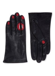 Aristide'A Kiss' lip and fingernail leather short gloves