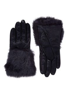 Aristide Fur cuff lambskin leather short gloves