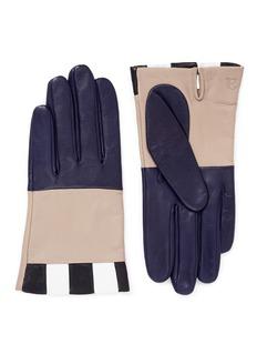 AristideColourblock check lambskin leather short gloves