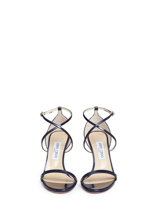 Front View - Click To Enlarge - Jimmy Choo - 'Hesper 85' crisscross strap leather sandals