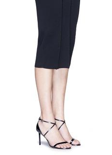 Jimmy Choo'Hesper 85' crisscross strap leather sandals