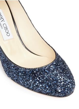 Detail View - Click To Enlarge - Jimmy Choo - 'Helena' ankle strap coarse glitter pumps