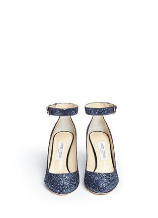 Front View - Click To Enlarge - Jimmy Choo - 'Helena' ankle strap coarse glitter pumps