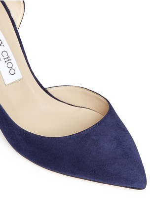 Detail View - Click To Enlarge - Jimmy Choo - 'Lucy 85' ankle strap suede d'Orsay pumps