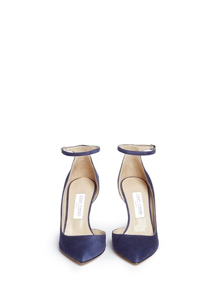 Front View - Click To Enlarge - Jimmy Choo - 'Lucy 85' ankle strap suede d'Orsay pumps