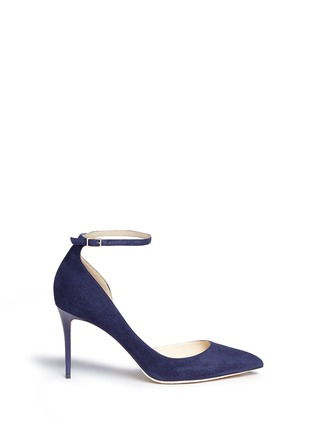 Main View - Click To Enlarge - Jimmy Choo - 'Lucy 85' ankle strap suede d'Orsay pumps