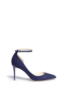 Jimmy Choo 'Lucy 85' ankle strap suede d'Orsay pumps