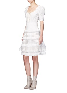Temperley London 'Sea' fish lace tiered ruffle dress