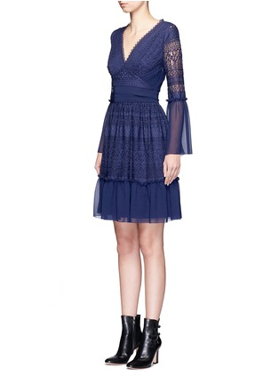 Front View - Click To Enlarge - Temperley London - 'Rope' tie waist floral lace dress