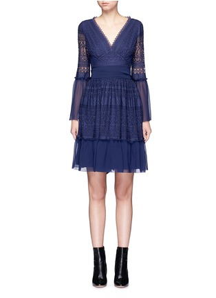 Main View - Click To Enlarge - Temperley London - 'Rope' tie waist floral lace dress