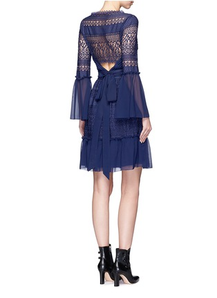Figure View - Click To Enlarge - Temperley London - 'Rope' tie waist floral lace dress