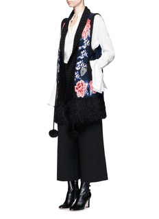 Temperley London Wander' floral intarsia fringed wool-mohair gilet