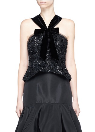 Main View - Click To Enlarge - Oscar de la Renta - Sequin organza floral embellished velvet halterneck top